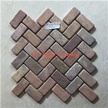 Red Herringbone Mosaic from Indonesia