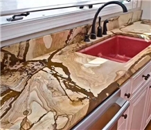 Luxury Flamenco Gold Stone Kitchen Countertop