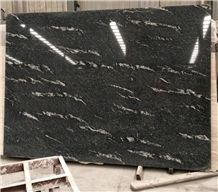 Polished Black Nero Nuvolato Granite Slab