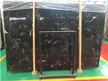 Whosale Black Ice Flower Marble Slab Tile Price