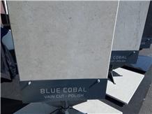 Blue Cobal Limestone Vein Cut Polished