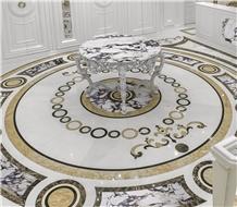 Marble Waterjet Inlay Floor Medallion Pattern