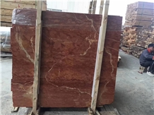 Rojo Alicante Red Marble Slab Flooring Tile Skirt