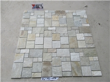French Pattern Mosaic Tiles Natural Yellow Slate