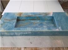 Blue Crystal Onyx Vanity Countertops