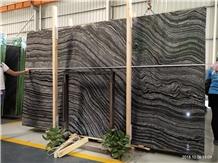 China Black Zebra Wooden Marble Antique Slab