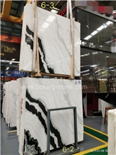 Chinese Panda White Marble Black Veins Slabs
