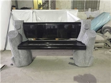 G603 Grey Tree Stumps Bench with Black Back/Seat