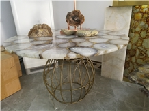 Semiprecious Stone White Agate Round Table