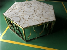 White Agate Hexagon Semiprecious Table Top