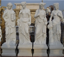 Four Season Statue White Marble Human Sculpture