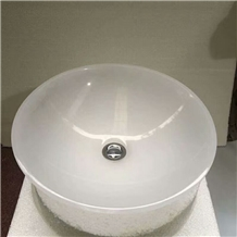 Cloudy White Marble Round Sink, White Marble Basin
