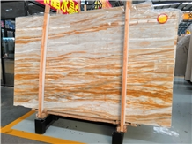Golden Yellow Wooden Vein Marble Slabs