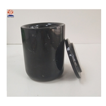 Black Marquina Marble Candle Jar with Black Lid