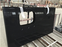 China Absolute Black Quartz Slabs 320x160cm