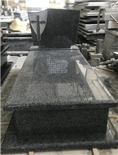 New G654 Padang Dark Grey Granite Cross Tombstone