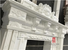 Royal White Marble Calacatta Fireplace Design