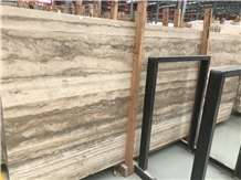 Silver Gray Navona Travertine Tile Wooden Vein