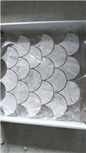 Carrara White Fish Scale Marble Backsplash Mosaics