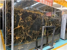 China Portoro Gold Marble Black Golden Vein Slabs