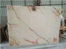 Usak White Onyx Red Flower Ice Onix Slab in China