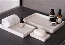Bath Canister Accessories White Marble Stone Dish