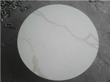 Calacatta White Quartz Table Tops with Brass Edge