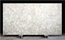 Luxurious White Crystal Quartzite Stone Slabs
