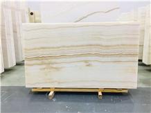 Polished Straight Grain White Onyx Slabs