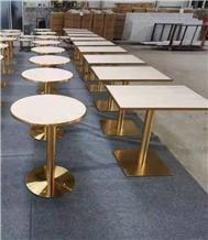 Pure White Quartz Polish Table Top with Metal Base