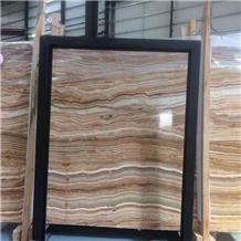 Onice Brioche Onyx Slab for Interior Flooring