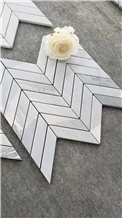 Herringbone Carrara White Mosaic