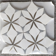 White Jet Cut + Brass Mosaic