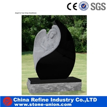 Black Granite Stone Angel in Tear Drop Headstone