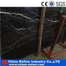 Black Marble Tiles with White Vein, Slabs