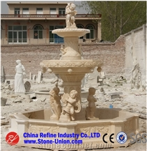 Carved Yellow Limestone Fountain,Sphere Fountains
