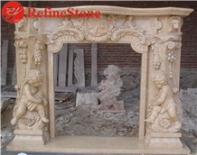 Cheap Beige Marble Travertine Fireplace Surround