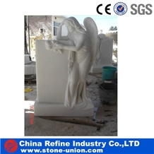 Cheaper White Marble Angel Monument and Tombstone