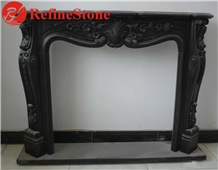 Hand Carved Natural Black Marble Fireplace Mantel