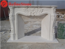 Handcarved French Style Marble Fireplace Mantel