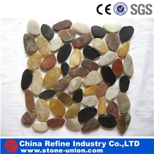 Mixed Color Polished River Pebbles Cobbles Mosaic