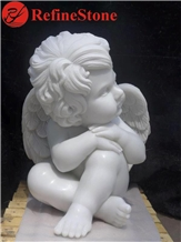 Outdoor Hand Carved Marble Child Angel Statue