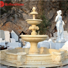 Outdoor Hand Carved Marble Fountain with Lion Head