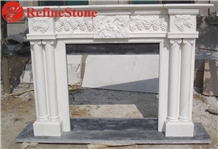 Pillar Carved Fireplace Mantel in White Marble