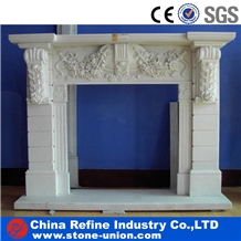 Pure White Marble Carved Fireplace Cover