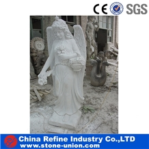 White Marble Angel Polished Garden Human Sculpture