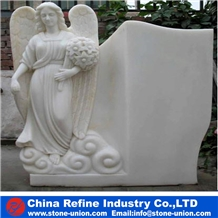 White Marble Angel Sculpture Gravestone/Tombstone