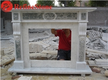White Marble Corner Fireplace Mantel