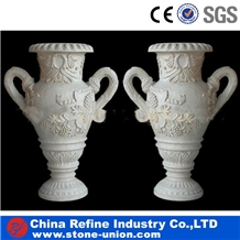 White Marble Flower Pots and Carving