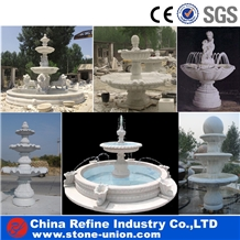 White Marble Sculptured Fountain & Water Fountain